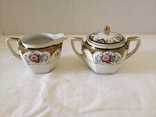 "Noritake ""M"" Porcelain Hand-Painted Creamer Cup and Sugar Bowl Dish"