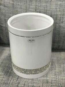 Bella Lux Bathroom Accessory Ceramic Crystal White Trash Bin ~ New ~