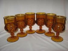 Colony Color Crown Amber Thumbprint Pedestal Goblets - Six