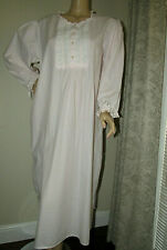 Laura Ashley 100% cotton Pink Long Nightgown lace satin ribbon Long sleeves Sz L