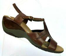 Merrell Viola Antique Brown Leather T-Strap Wedge Sandals J46258 Womens 10 EU 41