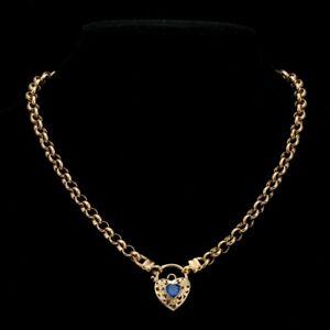 18K Yellow Gold GL Women's Solid Med Belcher Necklace & Sapphire Heart 45cm