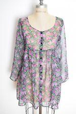 vintage 90s dress sheer floral print chiffon black purple grunge babydoll mini S
