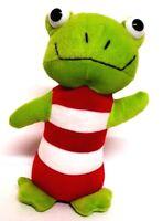 Green Frog Froggy Soft Plush Stuffed Animal Toy Red White Stripe 21cm