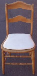 Antique Solid Wood Ladder Back Side Chair – Custom Made Seat Pad – NEEDS CANING