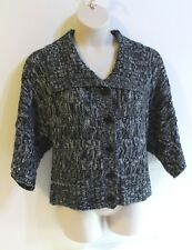 Say What Cardigan Sweater Jacket Size 3X Black Gray Chunky Cable Knit Buttons