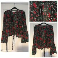 Pretty Little Thing Black Floral Shirt Blouse Size 8 Eur 36 New With Tags (A90)