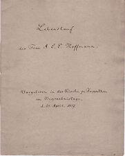 Historsiche Handschrift 1837 Lebenslauf Hoffmann Neithardt Zoppoten Lobenstein