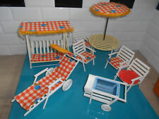 17.9.24.3 Lot mobilier jardin vintage poupée mannequin Tressy Barbie chaise 2