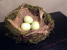 Easter Spring Birds nest with moss, burlap and 3 speckled eggs - 4 1/2""