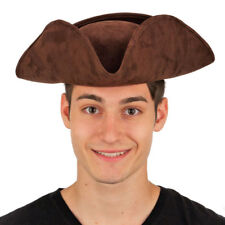Brown Deluxe Faux Suede Tricorne Tri-Corner Tricorn Pirate Colonial Hat Costume