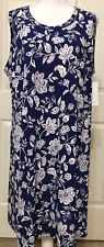 NWT Karen Kane 2X blue white floral A-line sleeveless dress $124