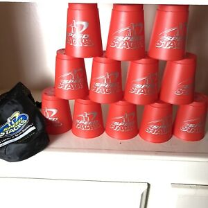 """Speed Stacks 12 Red """"Fire"""" Cups Competition Stackers w/ Black Mesh Storage Bag"""