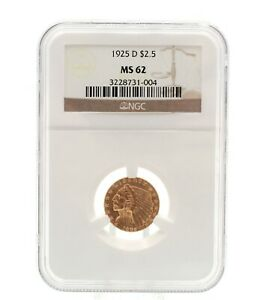 2.50 1925 D INDIAN HEAD QUARTER EAGLE MS 62 NGC GRADED GOLD COIN #CB44-2