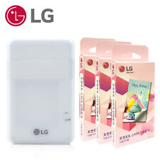 LG PD261 Pocket Photo Printer White + Zink Sticker Paper 90 Sheets + USB Cable