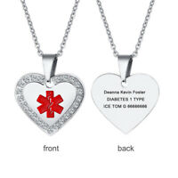 Women Medical Alert ID Necklace Pendant Crystal Heart Customized Free Engraving