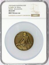 1929 Switzerland Ticino Bellinzona Shooting Bronze Medal R-1465b - NGC MS 64 BN