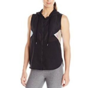 Jessica Simpson The Warm Up Women's Vest Black Hooded Iridescent Panels*