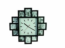 Hanging Modern 12 Multi Photo Gallery Family Picture Frame Time Wall Clock Black