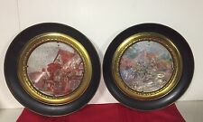 Set 2 Vintage Brass Plate Wall Decor With Cottage Florals Black Edges England