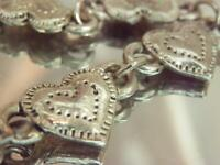 Very Nice Vintage 70's Short Pewter Tone Ornately Detailed Heart Necklace 613M0