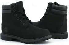 TIMBERLAND 6-Inch Double Collar Women's Black Leather Ankle Boots New Authentic