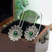 Women Vintage Flower Earrings 925 Silver Gems Dangle Drop Hook Earrings gift