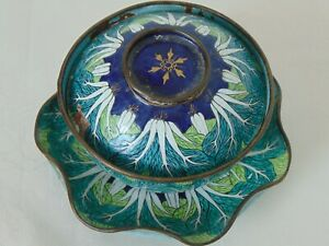 Chinese Canton Enamel On Copper Cabbage Pattern, Lotus Plate and Bowl - Qianlong