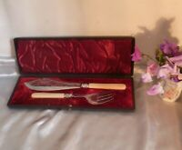 Victorian Silverplate & White Metal Fish Servers-Original Velvet Lined Box