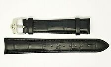 New 18mm Black Genuine Leather Watch Strap With Steel Buckle For Omega (S-3)