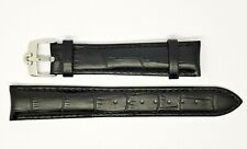Nuevo 18mm Negro Correa para Reloj de Cuero Genuino con Acero Hebilla Omega
