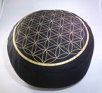 Meditationskissen / Yogakissen, Blume des Lebens, schwarz, Meditation