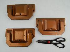 VTG SET 3 INDUSTRIAL METAL COPPER TONE HANDLES PULLS CASKET COFFIN FUNERAL DIY