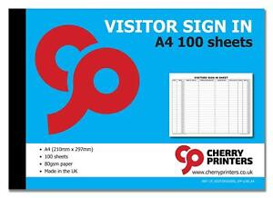 Cherry Visitor Sign In Book A4 297mm x 210mm 100pages 80gsm
