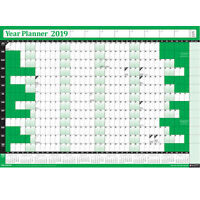 2019 Laminated Yearly Wall Planner Calendar✔Wipe Dry Pen & Sticker Dots✔ GREEN