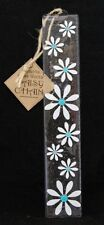 Designer Fused Glass Wall Hanging Daisy White and Turquoise 25cm