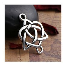 10 Celtic knot charms antique silver tone R132