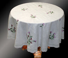 Thistle Embroidered Round Circular Tablecloth Polyester