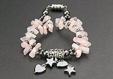 Magnetic Bracelet Healing Hematite Bead Dangle Heart & Star Charms Pink Stone