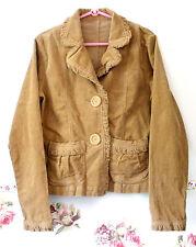 Brown Corduroy Jacket with Frill Coat Outerwear Cute Ladys Women S Jean Ocher