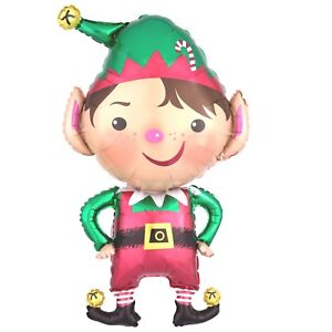 LARGE JOLLY CHRISTMAS ELF SUPERSHAPED FOIL BALLOON PARTY DECORATION 55CM X 88CM
