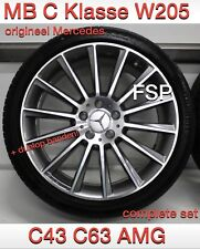 "Original Mercedes C43 C63 19"" AMG Wheel Set + Dunlop Tyres W205 C Class Wheels"