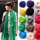 Stylish Women Girls Crinkle Long Soft Scarf Wrap Shawl Stole Voile Solid Fashion