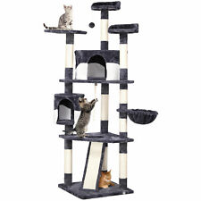 """79"""" Large Cat Tree Tower Condo Scratching Post Pet Play House(Gray and White)"""