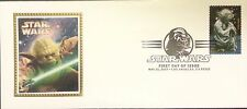 USPS Star Wars Stamp 1st Day Issue Cover Silk Cachet Yoda w/ Yoda Stamp