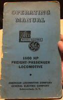 1600 HP FREIGHT-PASSENGER LOCOMOTIVE OPERATING MANUAL ALCO DIESEL-ELECTRIC GE