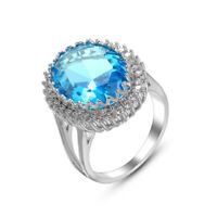 Women Fashion Jewelry Gift Natural Ocean Blue Topaz Gems Silver Ring New
