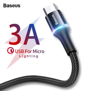Baseus Halo Micro USB Braided Cable 3A Charging Data. 0.25m 0.5m 1m 2m 3m