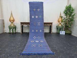 "Moroccan Handmade Cactus Silk Runner 2'1""x9' Sabra Berber Abstract Blue Gray Rug"
