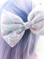 Mermaid Scales Watercolour Pastel Large Fabric Bow -- Ariel The Little Mermaid